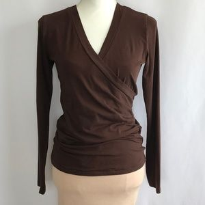CAbi Jersey V Neck & Long Sleeve Brown Blouse